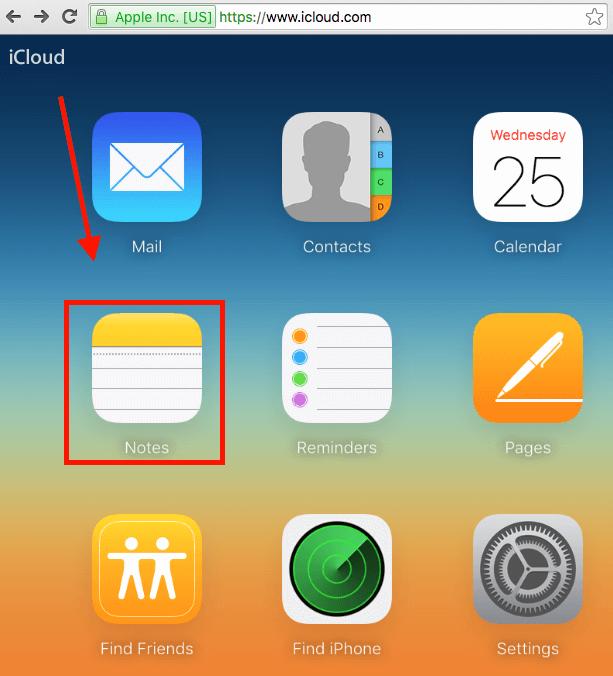 iCloud restore Notes