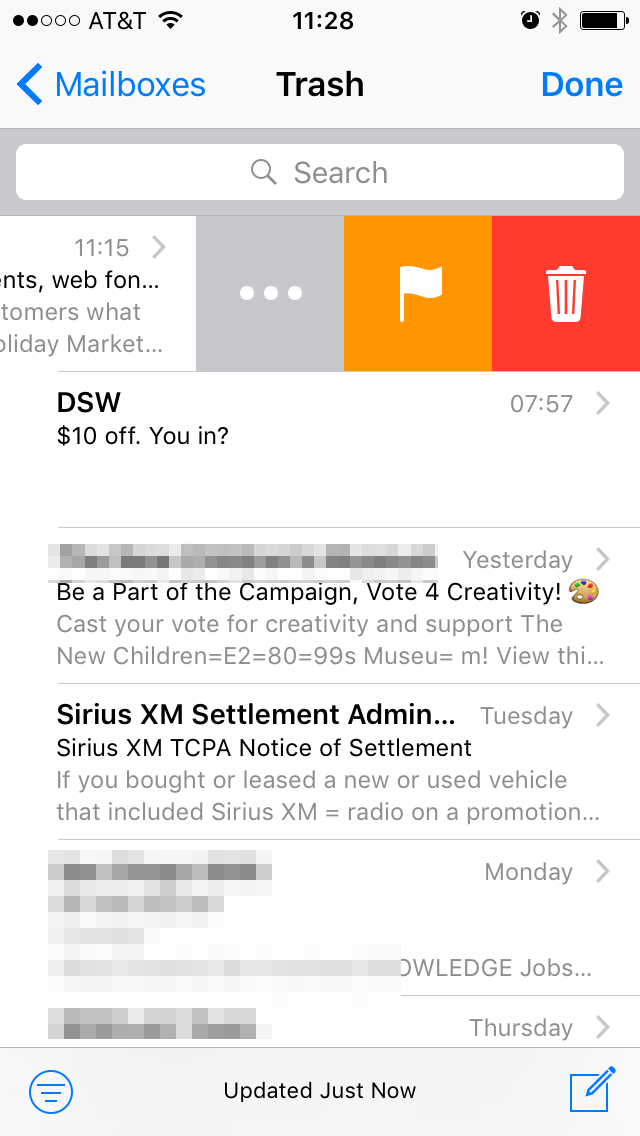 To Remove A Particular Email You Can Either Swipe Right And Tap The Red Icon Screenshot In Middle Or View This Hit Trash