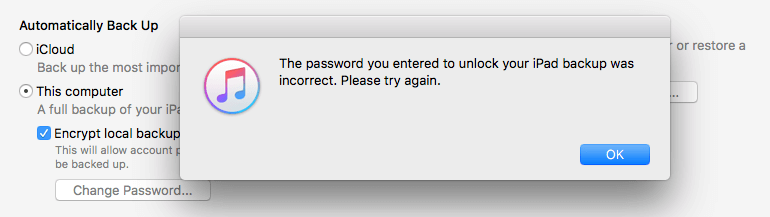 itunes asking for password to restore backup