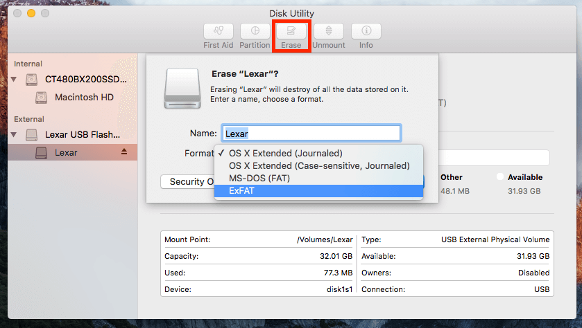 how to format flash drive on mac for windows