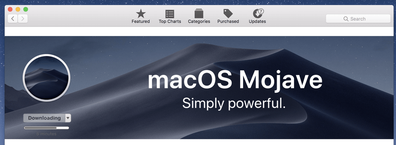 macOS Mojave downloading in process