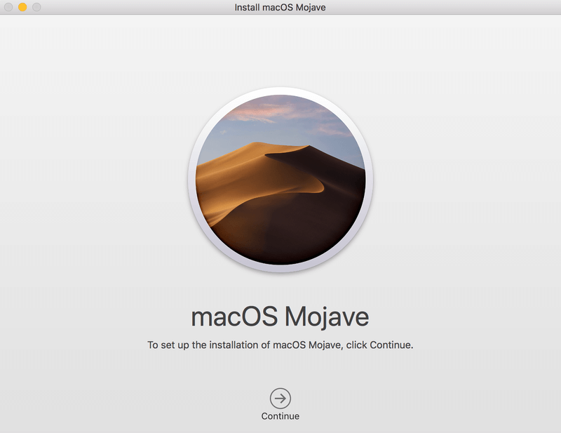 macOS Mojave install starts