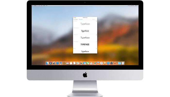 typeface app interface on Mac
